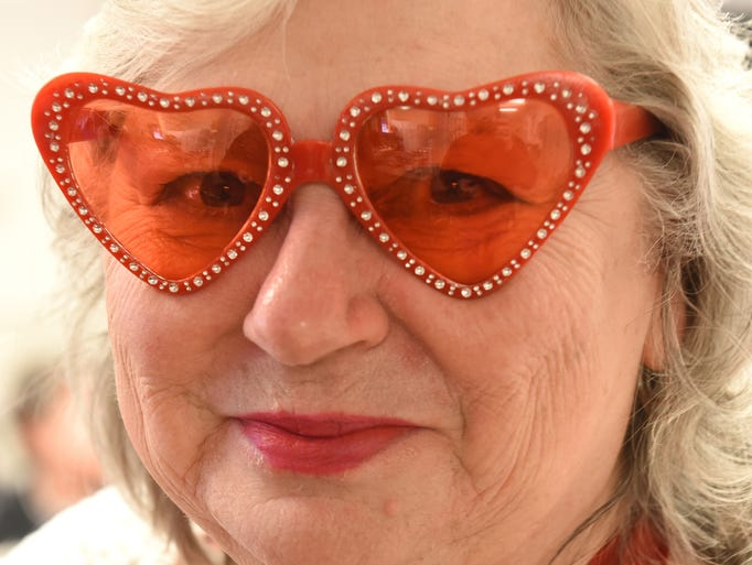 Pat Plemmons sports some heart-shaped glasses during