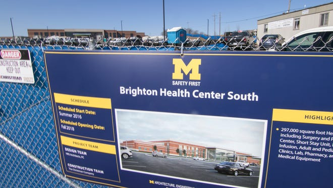 Progress in the construction of the University of Michigan's Brighton Health Center South is evident Thursday, March 22, 2018. Upon completion, Challis Road should see much more traffic.