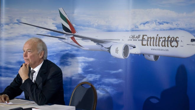 Tim Clark, CEO of Emirates Airline, speaks during a news conference at the National Press Club June 30, 2015. Clark addressed accusations by American, Delta and United airlines that Emirates Airline is subsidized by the UAE government.