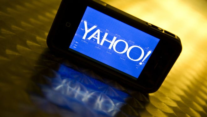 The Yahoo logo seen on a smartphone.