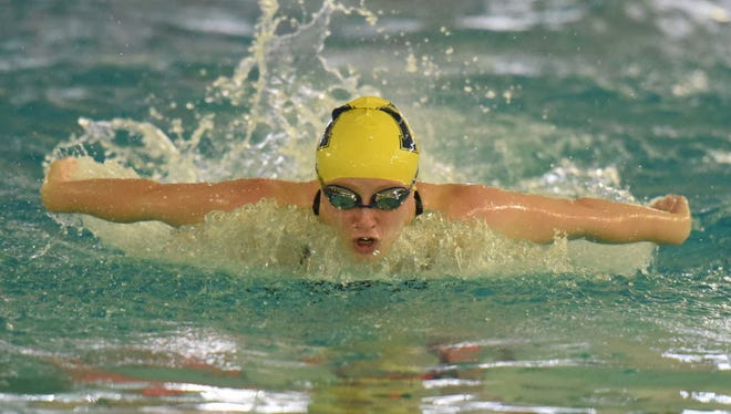 Jamie Yadoff of Indian Hills swims the butterfly stroke on Feb. 5, 2016.