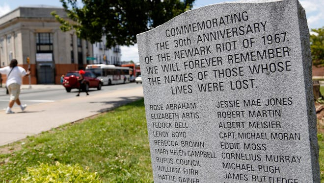 In this June 28 photo, a monument commemorates the Newark riots of 1967, in Newark.