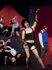"""Sean Hopper as Frankenfurter rehearses a scene from Visalia Players presentation of """"The Rocky Horror Show"""" at The Ice House Theatre on Monday, October 12, 2015."""