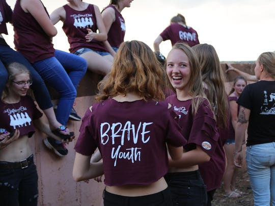 Young women attend the Brave Youth camp for former members of the FLDS community on July 29, 2017.