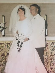 Dick and Marilyn Goldstine on their wedding day, June