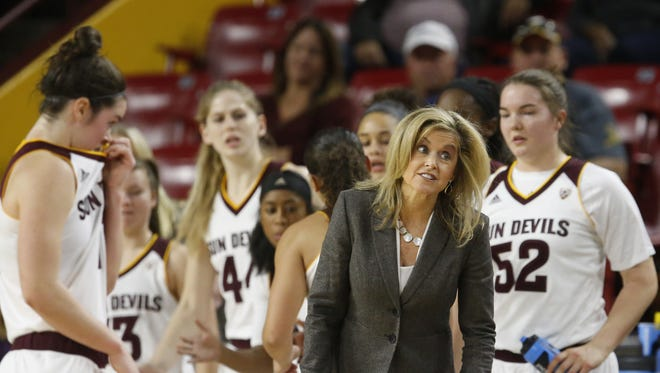 Arizona State University head coach Charli Turner Thorne questions a call during the first game of the ASU Classic tournament against Boston University at Wells Fargo Arena in Tempe on December 3, 2016.