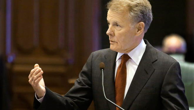 """Illinois House Speaker Michael Madigan, D-Chicago, argues in favor of the """"Millionaires Tax"""" proposal while on the House floor during session at the state Capitol on May 23, 2014, in Springfield, Ill."""