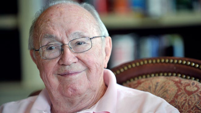 "In this Aug. 25, 2010, photo, Theodore ""Dutch"" VanKirk, navigator of the Enola Gay, talks about his experiences during World War II, at Park Springs, the retirement community where he was living in Stone Mountain, Ga. VanKirk, the last surviving member of the crew that dropped an atomic bomb on Hiroshima has died. Tom VanKirk says his father, 93-year-old Theodore VanKirk, died Monday, July 28, 2014, in Stone Mountain. (AP Photo/Atlanta Journal Constitution, Bita Honarvar)"
