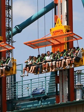 2014: People try out the Zumanjaro Drop of Doom.