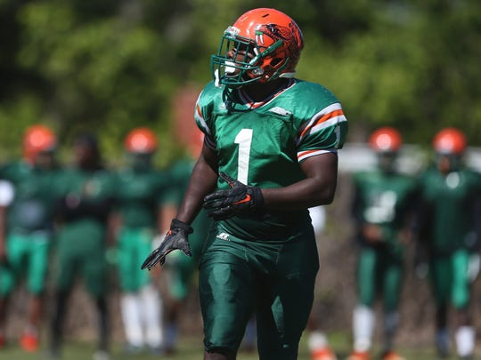 FAMU's Terry Jefferson works out with his team as they hold spring practice on the university's campus last year.