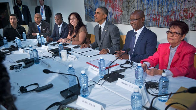 President Obama meets with dissidents and other local Cubans at the U.S. Embassy on March 22, 2016, in Havana, Cuba. From left are., Angel Yunier Remon, Guillermo 'Coco' Farinas, Nelson Alvarez Matute, Miriam Celaya Gonzalez, Manuel Cuesta Morua, and Miriam Leiva Viamonte.