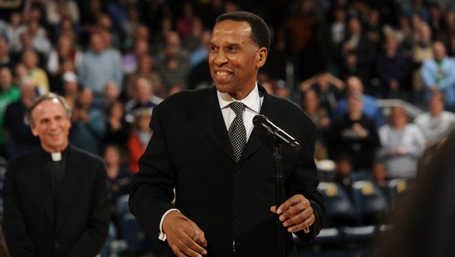 Former Notre Dame basketball player Adrian Dantley speaks after being inducted into the Notre Dame Ring of Honor March 2,  2012 in South Bend, Ind.