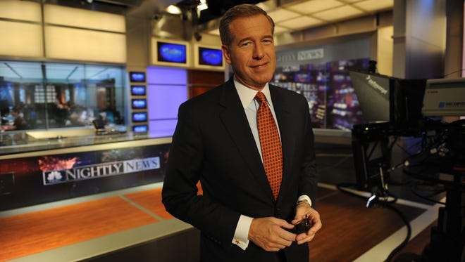 """NBC Nightly News"" anchor Brian Williams, on the set of his TV show in 2013."
