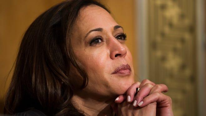 In this January photo, Sen. Kamala Harris is seen on Capitol Hill in Washington.