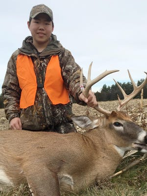 Sixteen-year-old Zachary LaGue of Barre shot this 8-point, 156-pound buck Nov. 21 while hunting in Berlin. Despite two severe winters and poor hunting conditions, the projected November rifle season buck kill is up 6 percent from 2014.
