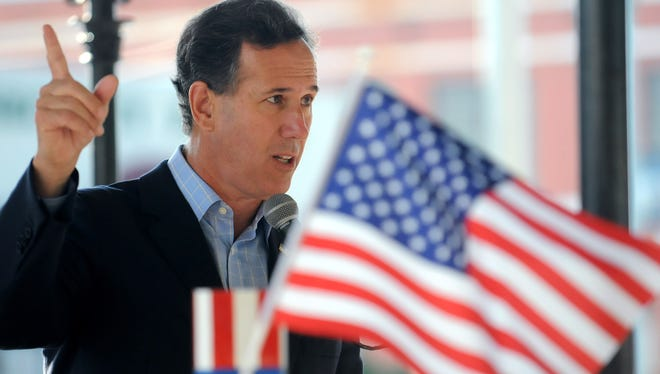 Sen. Rick Santorum speaks at a Republican rally on the square in in Troy, Ala., on Thursday morning October 9, 2014.
