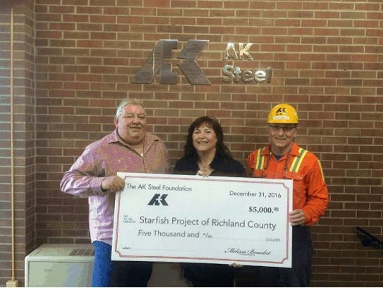 From left, Ron Smith, general manager at AK Steel Mansfield