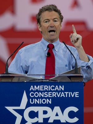 Sen. Rand Paul, R-Ky. speaks Friday during the Conservative Political Action Conference (CPAC) in National Harbor, Md.