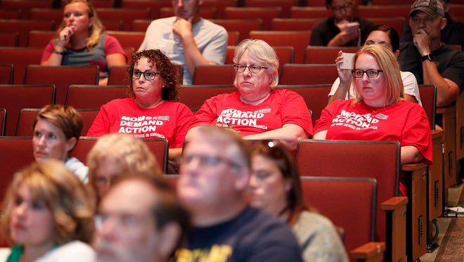 A small audience listens during Noblesville Schools' public safety forum on July 18, 2018. Administrators discussed changes that would be made if a $50 million operating referendum passes on Nov. 6.