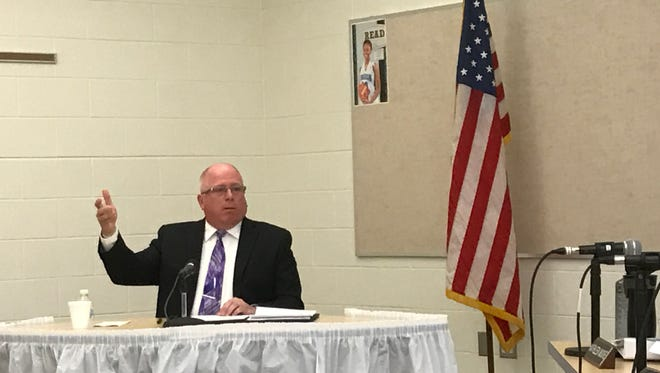 Lakeview School District superintendent finalist Jim Owen makes a point during his interview for the job Saturday.