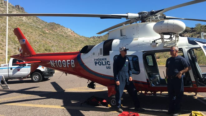 This helicopter, used to rescue injured hikers from trails in Phoenix, is maintained and operated by the Phoenix Police Department.
