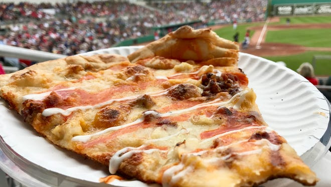A slice from Fine Folk Pizza pairs nicely with Red Sox spring training games.