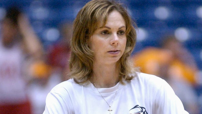 Megan Gebbia conducts practice as a Marist College women's basketball assistant at the University of Dayton Arena on March 24, 2007, in Dayton, Ohio.