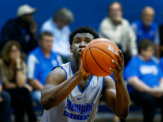 University of Memphis freshman guard Keon Clergeot takes a shot during an open practice Tuesday at the Finch Center.