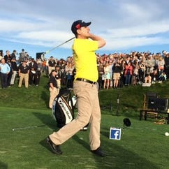 Jim Harbaugh watches the ball during the 2016 AT&T Pebble Beach Pro-Am.