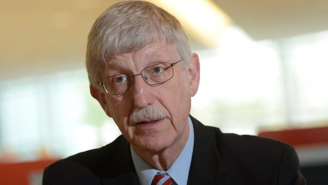 Francis Collins speaks to the USA TODAY Editorial Board in 2014.