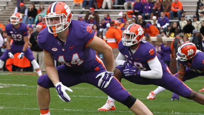 Clemson tight end Garrett Williams (44) warms up before Clemson's 2015 game against Wake Forest.