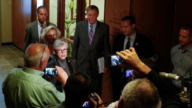 MSU President Lou Anna K. Simon speaks to members of the press inside the John A. Hannah Administration Building Monday, June 5, 2017, after a scheduled work session the Board of Trustees.  [MATTHEW DAE SMITH/LANSING STATE JOURNAL]