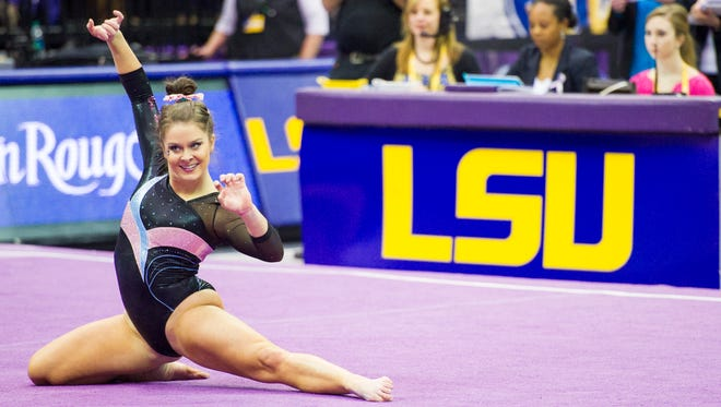 Lafayette native and sophomore All-American Sydney Ewing is one of the key performers on an LSU gymastics team that is one of 12 teams competing for the NCAA national title beginning Thursday in Fort Worth, Texas.