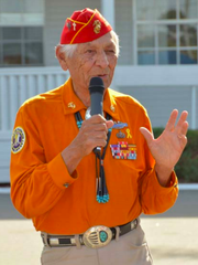 Navajo Code Talker Roy Hawthorne speaking at Camp Pendleton on Sept. 28, 2015.