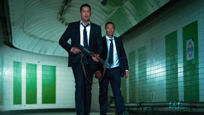 "Gerard Butler, left, and Aaron Eckhart star in ""London Has Fallen."""
