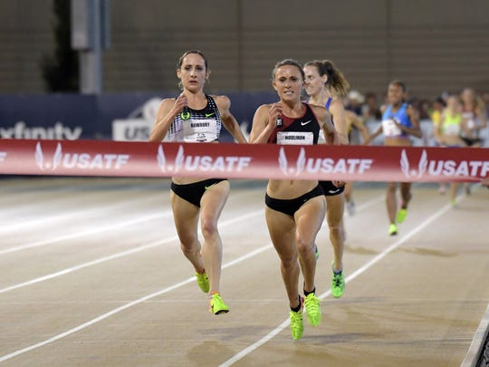 Shelby Houlihan (right) defeats Shannon Rowbury to win the women's 5,000 meters Friday at the USA Track & Field Championships in Sacramento as Molly Huddle finishes third.