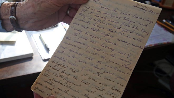 This is a view of a letter Douglas' father wrote to her mother during World War I at Douglas home in Sparkill Dec. 1, 2016. Marjorie Jamison Douglas has written a memoir about her parents lives with old love letters.