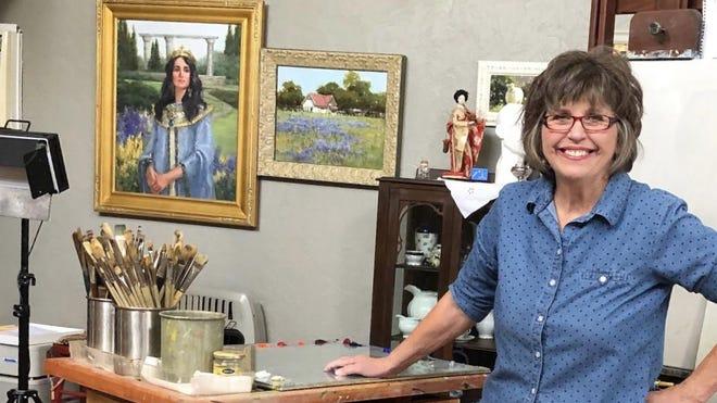 Judy Crowe is pictured in her art studio.