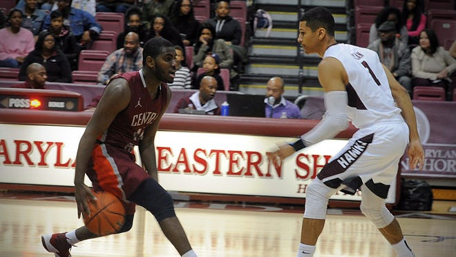 Central Penn's Randy Dupont puts on a move to try and get past Hawks' guard Marc Seylan on Monday, Dec. 5, 2016 at the Hytche.