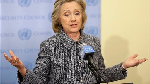 "Hillary Rodham Clinton speaks to the reporters at United Nations headquarters, Tuesday, March 10, 2015. Clinton conceded Tuesday that she should have used a government email to conduct business as secretary of state, saying her decision was simply a matter of ""convenience."" (AP Photo/Seth Wenig)"