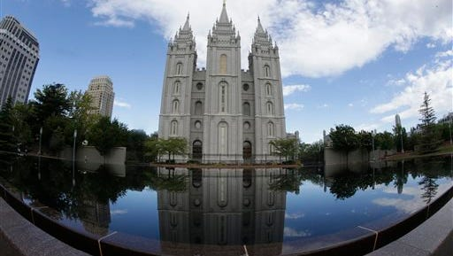 This Friday, July 10, 2015 photo shows the Salt Lake Temple at Temple Square in Salt Lake City. Several thousand people are expected at a public funeral Friday in Salt Lake City for Mormon leader Boyd K. Packer, who was next in line to become president and prophet of the religion. (AP Photo/Rick Bowmer)