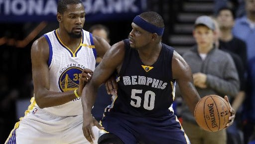 Memphis Grizzlies' Zach Randolph (50) is defended by Golden State Warriors' Kevin Durant (35) during the second half of an NBA basketball game Friday, Jan. 6, 2017, in Oakland, Calif. Memphis won 128-119.