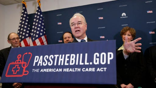 """Health and Human Services Secretary Tom Price, center, joined by, from left, Rep. Phil Roe, R-Tenn., Rep. Pat Tiberi, R-Ohio, and Rep. Susan Brooks, R-Ind., speaks during a news conference on Capitol Hill in Washington, Friday, March, 17, 2017, as House Republicans push for unity on their """"Obamacare"""" replacement bill."""