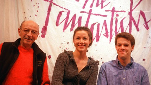 """FILE - This Jan. 13, 2002 file photo shows members of the off-Broadway show """"The Fantasticks,"""" James Cook, left, production stage manager, and actors Natasha Harper and Jeremy Ellison-Gladstone in New York.  The off-Broadway phenomenon will end its record-breaking run this summer. Producers said Tuesday, March 21, 2017,  that the musical will close June 4, having played a total of 21,552 performances in New York City."""