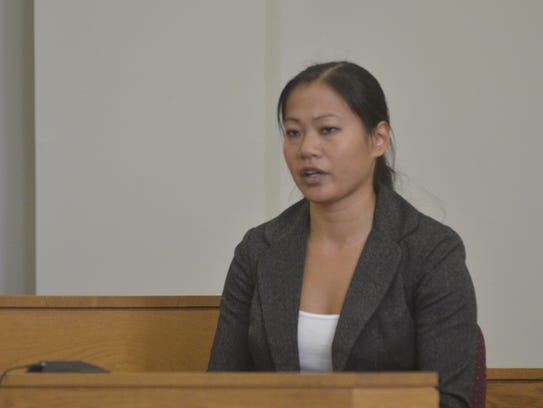 Leanne Werner, 31, of St. Albans testifies during a