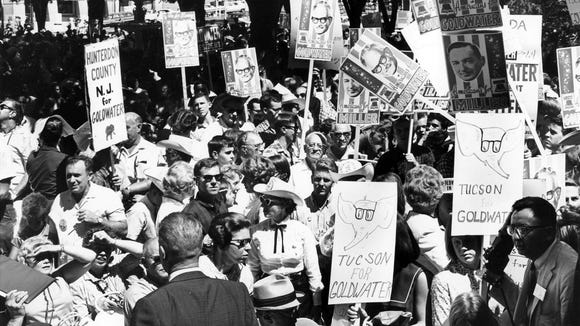 Supporters of Sen. Barry Goldwater's presidential campaign gather in Prescott in 1964. The Goldwater Institute in Phoenix is hosting events this week to mark the 50th anniversary of his White House run.