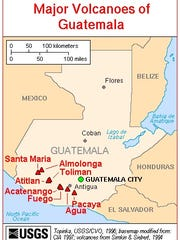 This map shows how close volcanoes in southern Guatemala are located.