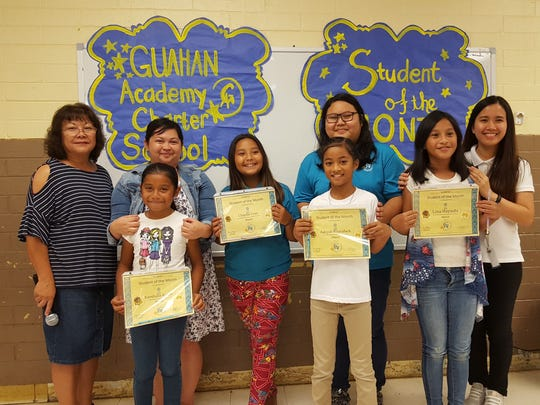 The Guahan Academy Charter School honored its March Student of the Month awardees on April 12, 2018. Pictured front row, from left: Kaeshalin Kasier; Chaylie Cruz; Aaliyah Nisarafach;Lina Hayshi. Back row from left: Teresita Cruz, Dean of High School Guahan Academy Charter School: Jennie Barroga; Ritacia Fegurgur and Lara Reyes.