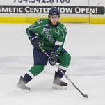 Tyler Sensky, a Canton native, is shown playing during a 2014-15 Plymouth Whalers game. He will skate next season for the new Flint Firebirds.