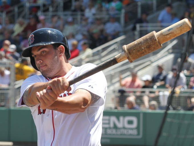 Boston Redsox Catcher Blake Swihart takes a practice
